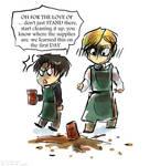 I drew them as baristas because tumblr