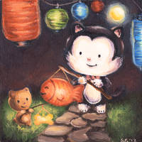 Tux the Cat in the Lunar Festival by MuyScully