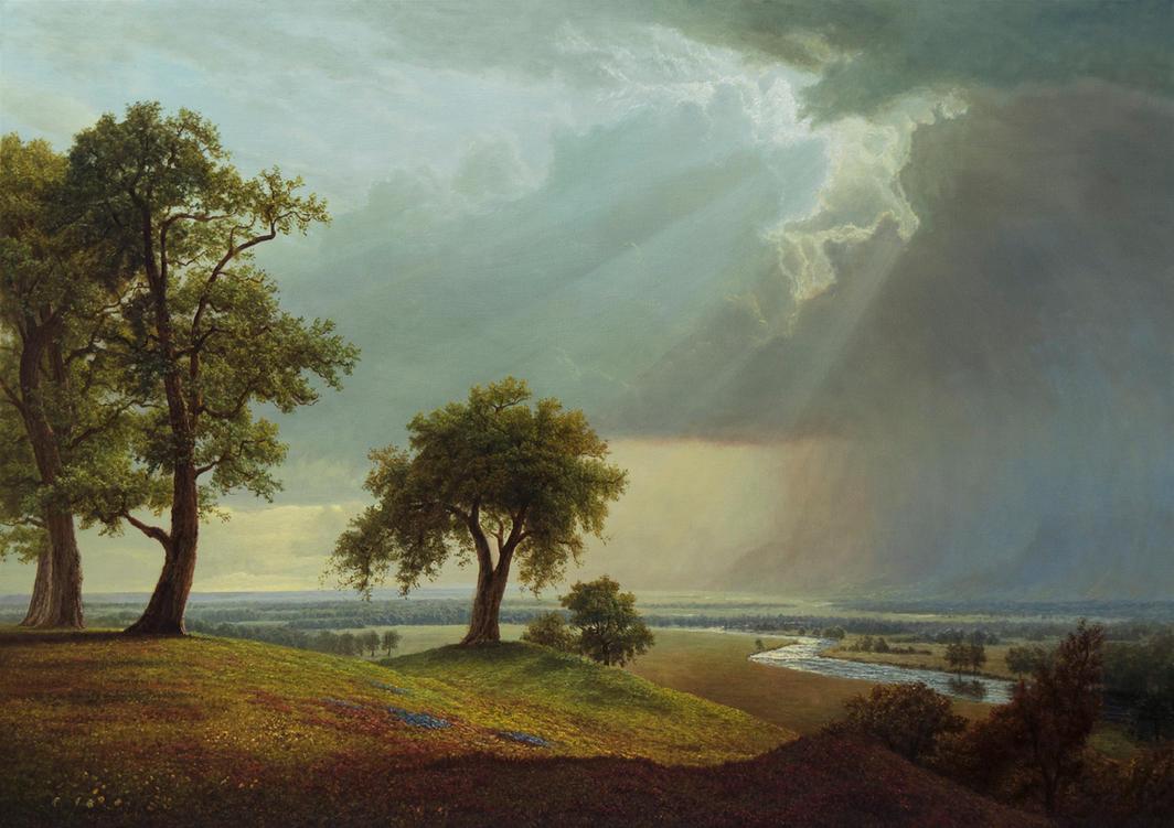 Rain over distant hills by MHandt