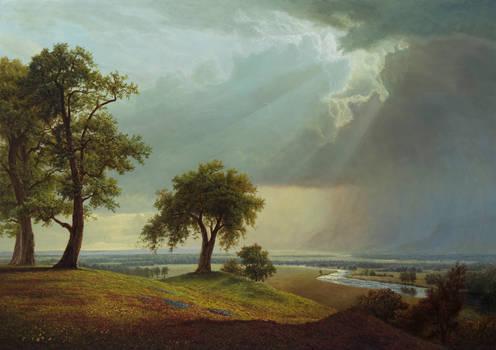 Rain over distant hills