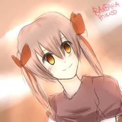 Sunset Girl Colored Sketch by RanbaraPrincess