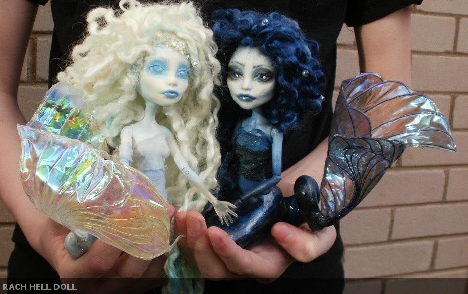 Monster high customs Mariana and Aurora  Mermaid by Rach-Hells-Dollhaus