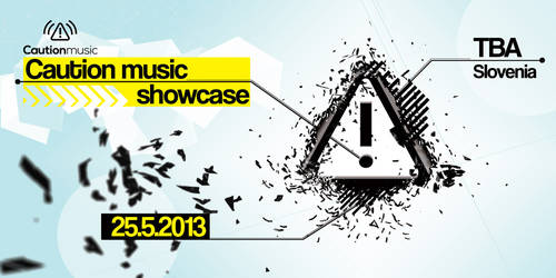 Caution music label showcase flyer