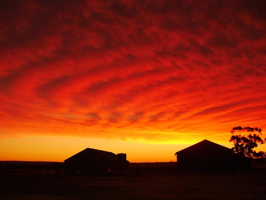 farm sunset :) by BlueSpark24