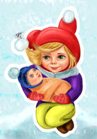 winter girl with her doll by Busyashka