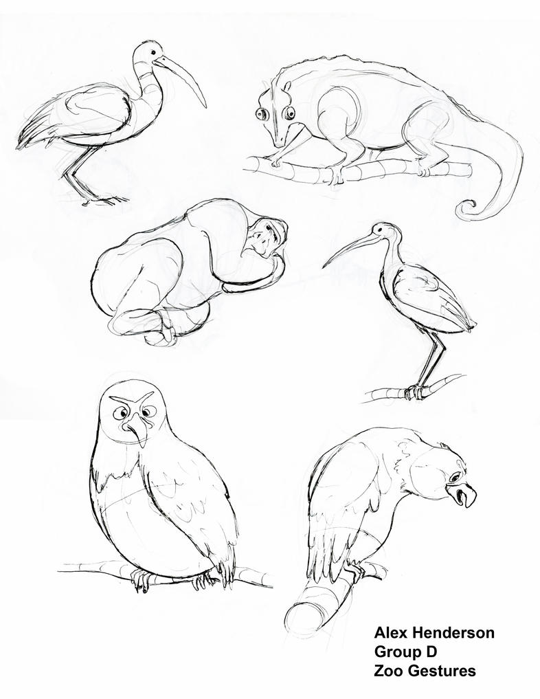 Line Drawings Of Zoo Animals : Zoo animals gestures page by alexanderhenderson on