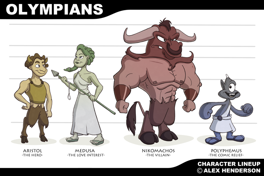 Ancient Olympics Theme Character Lineup by AlexanderHenderson
