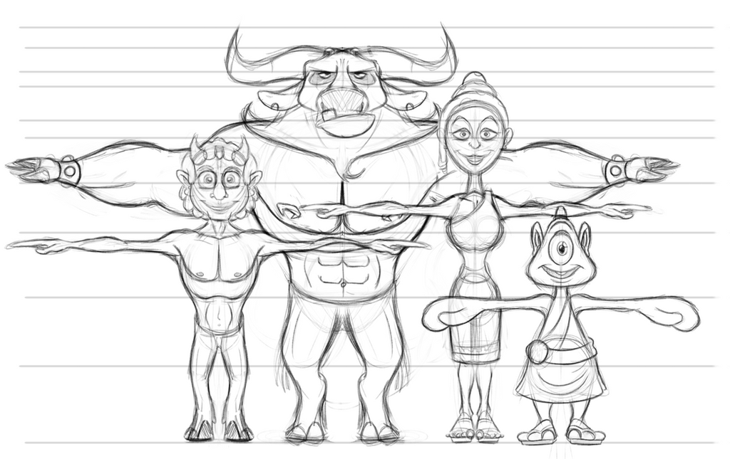 Ancient Olympics Theme Character Lineup - T Poses by AlexanderHenderson