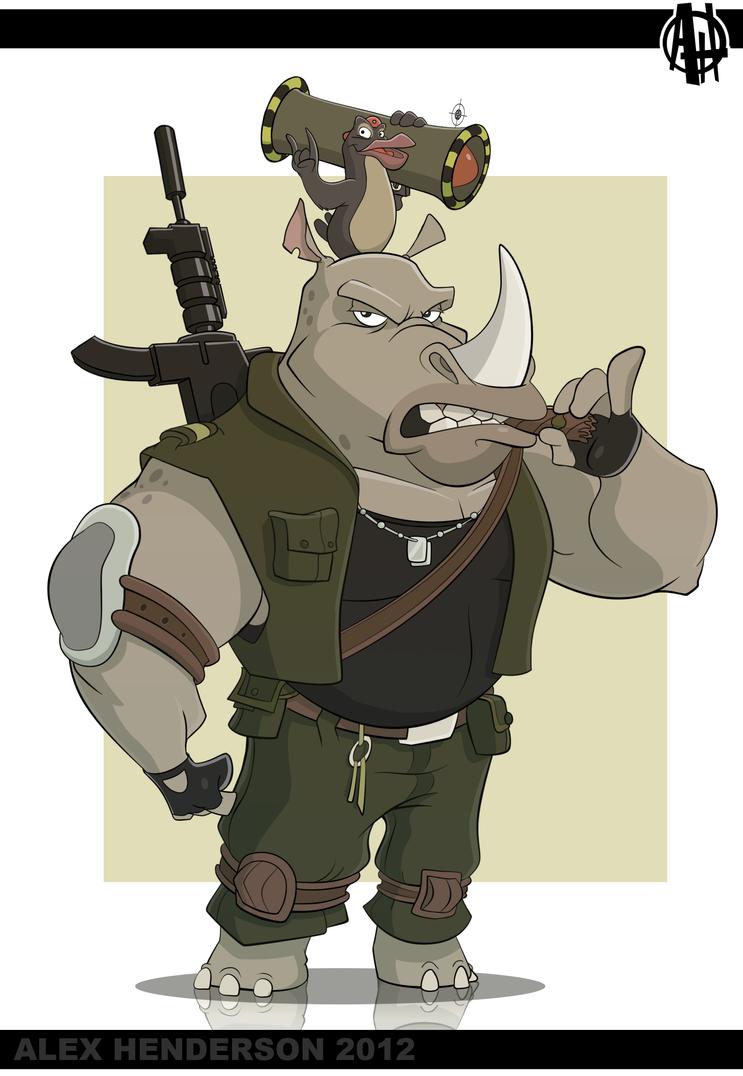Rhino and Oxpecker by AlexanderHenderson