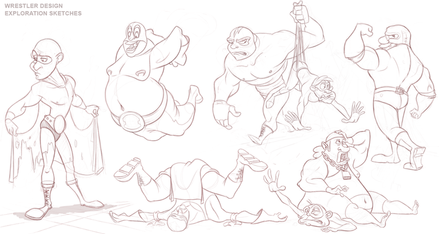 Wrestler Animation - Rough Design Sketches by AlexanderHenderson