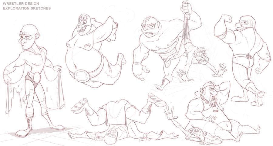 Wrestler Animation - Rough Design Sketches by AlexanderHenderson