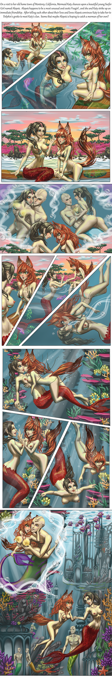 Commission: Mermaid Katy and Foxgirl Alepou by SpaceFur