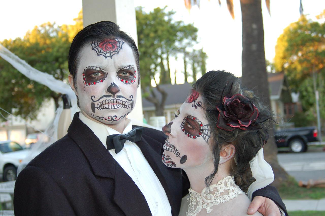 Sugar Skull Wedding Cake Toppers