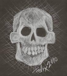 black paper skull