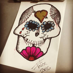 Sugar skull sketch by theFATpirate