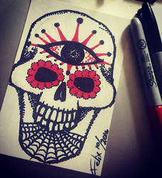 All seeing sugar skull by theFATpirate