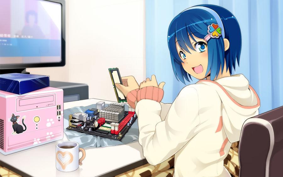 Anime Girl Working On Computer by KingOtaku