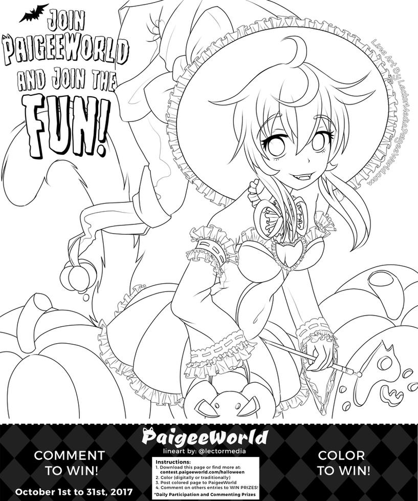 paigeeworld halloween coloring page by paigeedraw - Halloween Coloring Contest 3