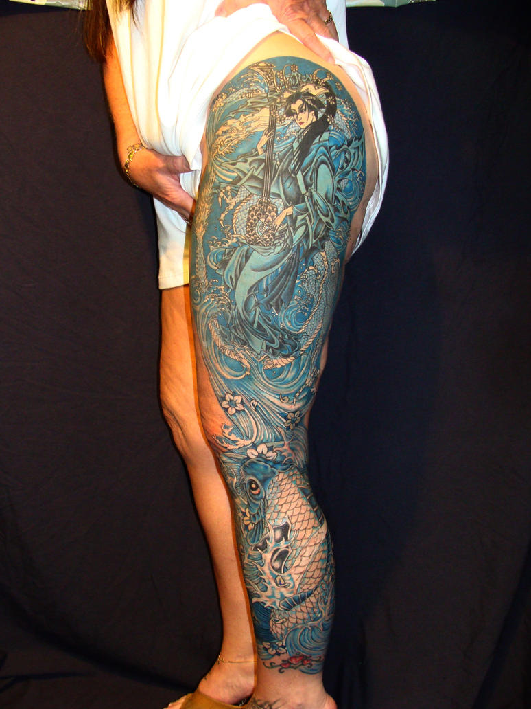 Monochromatic Leg Sleeve - sleeve tattoo