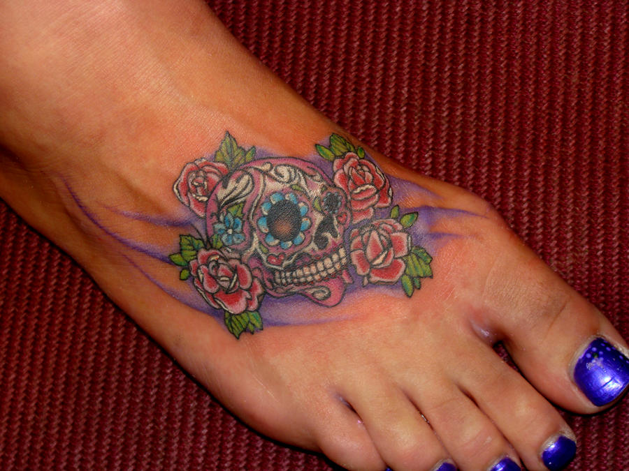 Mexican Sugar Skull Tattoo On Foot Picture 4