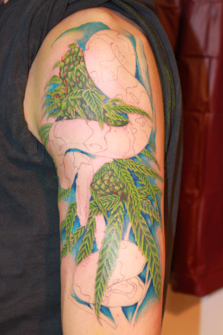 Snake and weed tattoo sitting 2 by danktat on deviantart for Best weed tattoo designs
