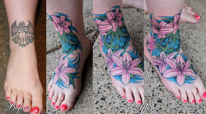 Floral coverup tattoo