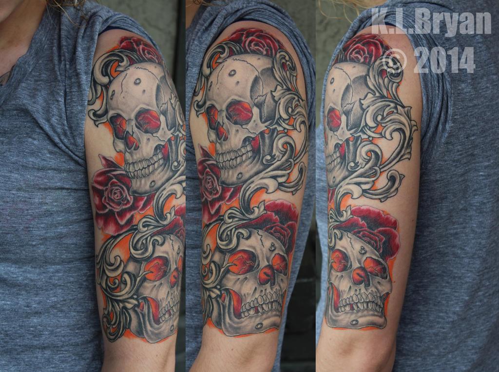 Healed Skull Half Sleeve Tattoo by danktat on DeviantArt