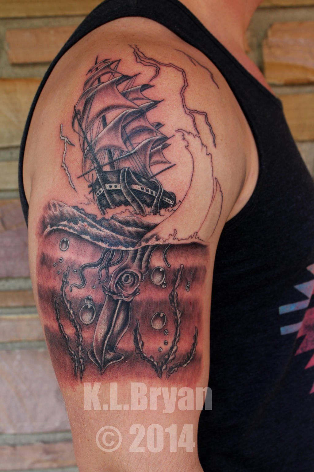 Kraken half sleeve tattoo 1st sitting by danktat on deviantart for 1 4 sleeve tattoo