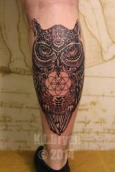 Owl tattoo with hamza and sacred geometry by danktat