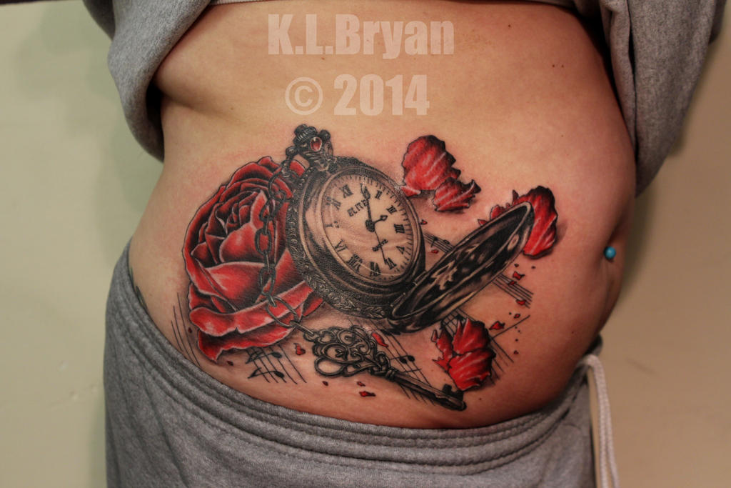 Pocket watch and rose tattoo sitting 2 (Complete) by danktat