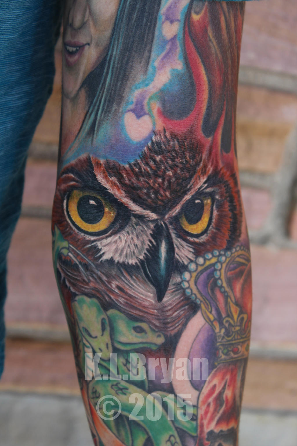 Tattoo Fillers: Owl Face Tattoo Used As Space Filler For Sleeve By Danktat