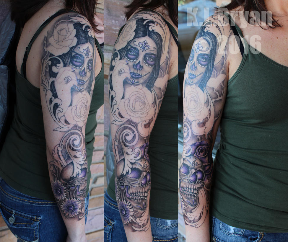 Day of the dead sleeve sitting 2 by danktat
