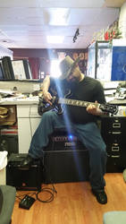 At work with my gitfiddle (guitar)
