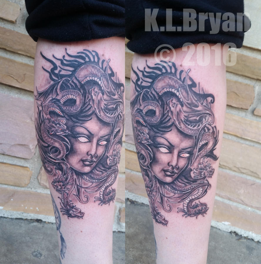 Medusa Face  / Dragon Hair Tattoo by danktat