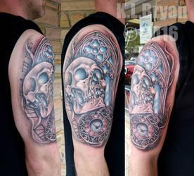 Skull, Watch, Window half sleeve Tattoo COMPLETE