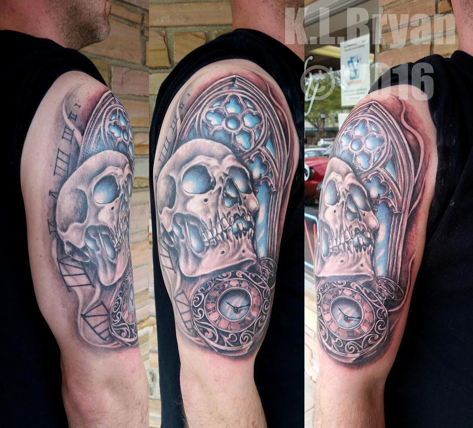 Skull, Watch, Window half sleeve Tattoo COMPLETE by danktat