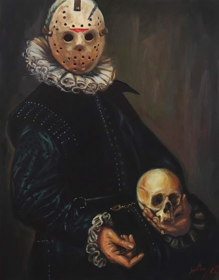Portrait of a Maniac Holding a Skull by HillaryWhiteRabbit