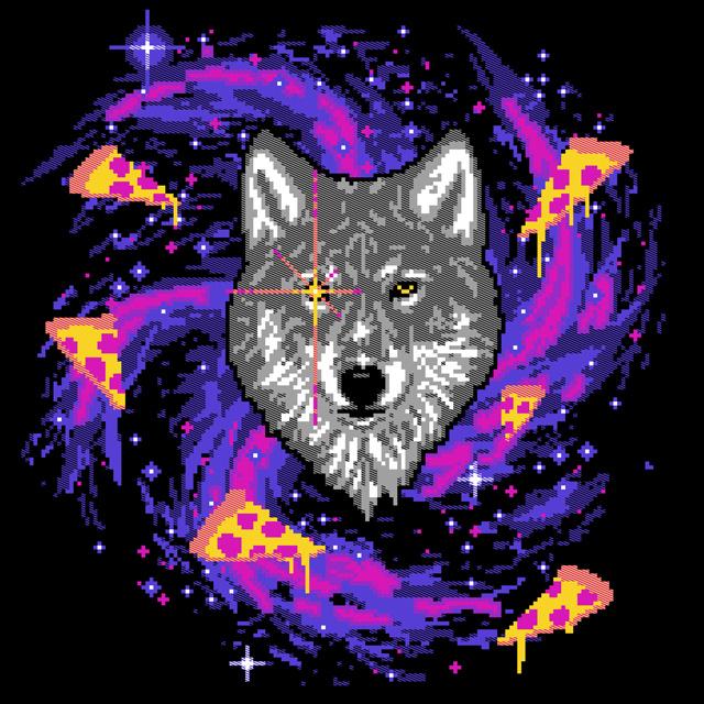 Galactic Pizza Wolf by HillaryWhiteRabbit