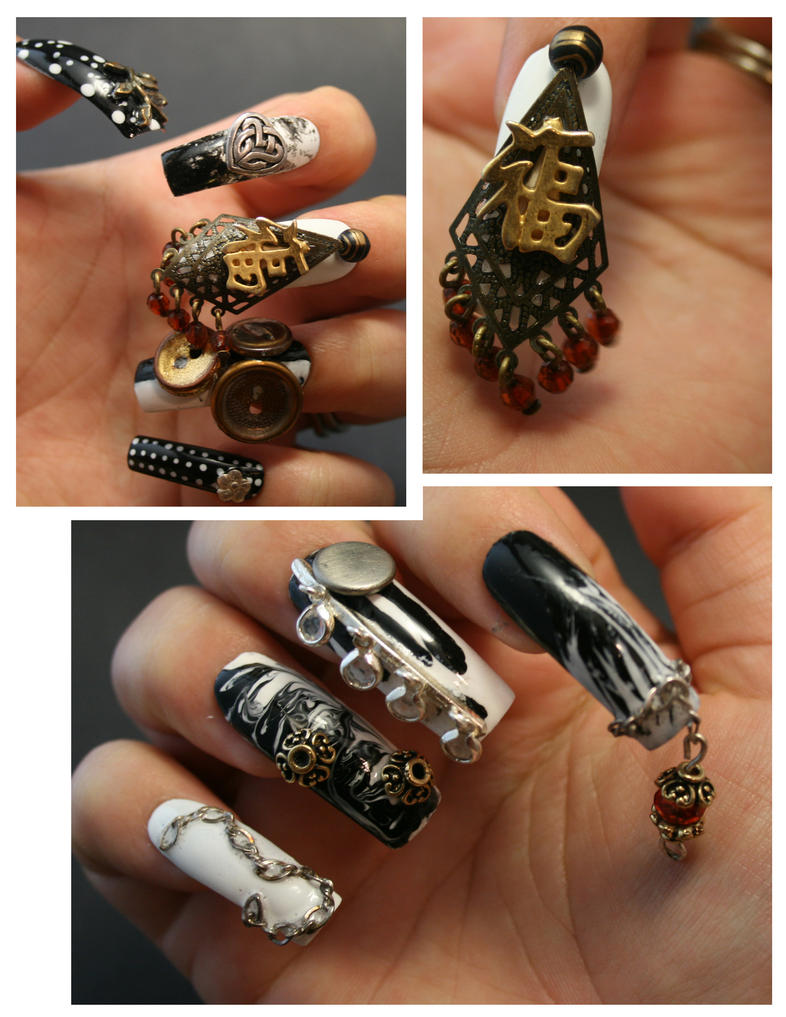 3D Nail Art in Black and White by ProlificMuse