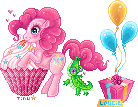 Pinkie Pie's giant cupcake and gift by tinuleaf