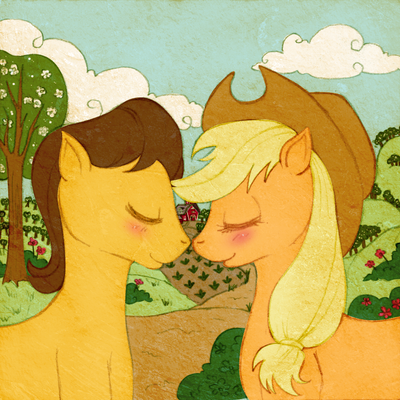 Applejack and Caramel by tinuleaf