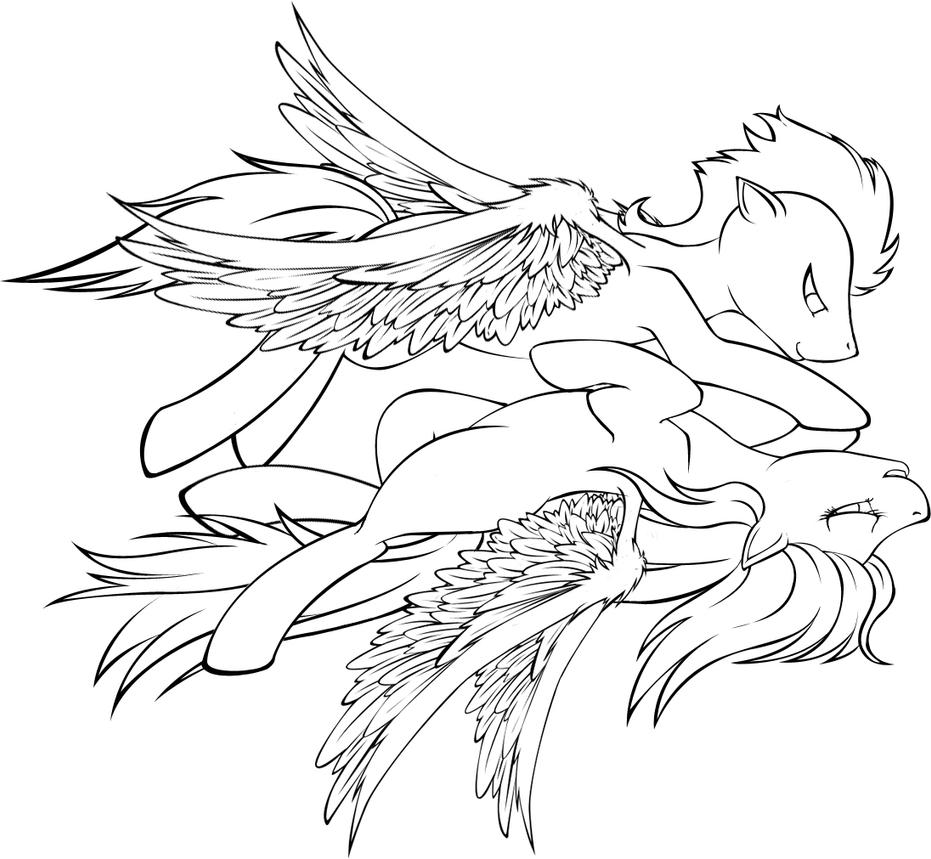 Rainbow dash cutie mark coloring page - Lineart Soarin Rainbow Dash Flying Bliss By Tinuleaf