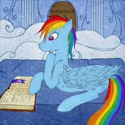Rainbow Dash Reading by tinuleaf
