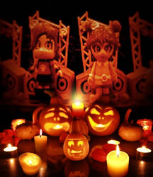 Puffy AmiYumi in Halloween setting. by researcher42