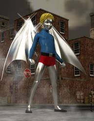 3-D CGI Silverized Batwing Boy Costume Concept