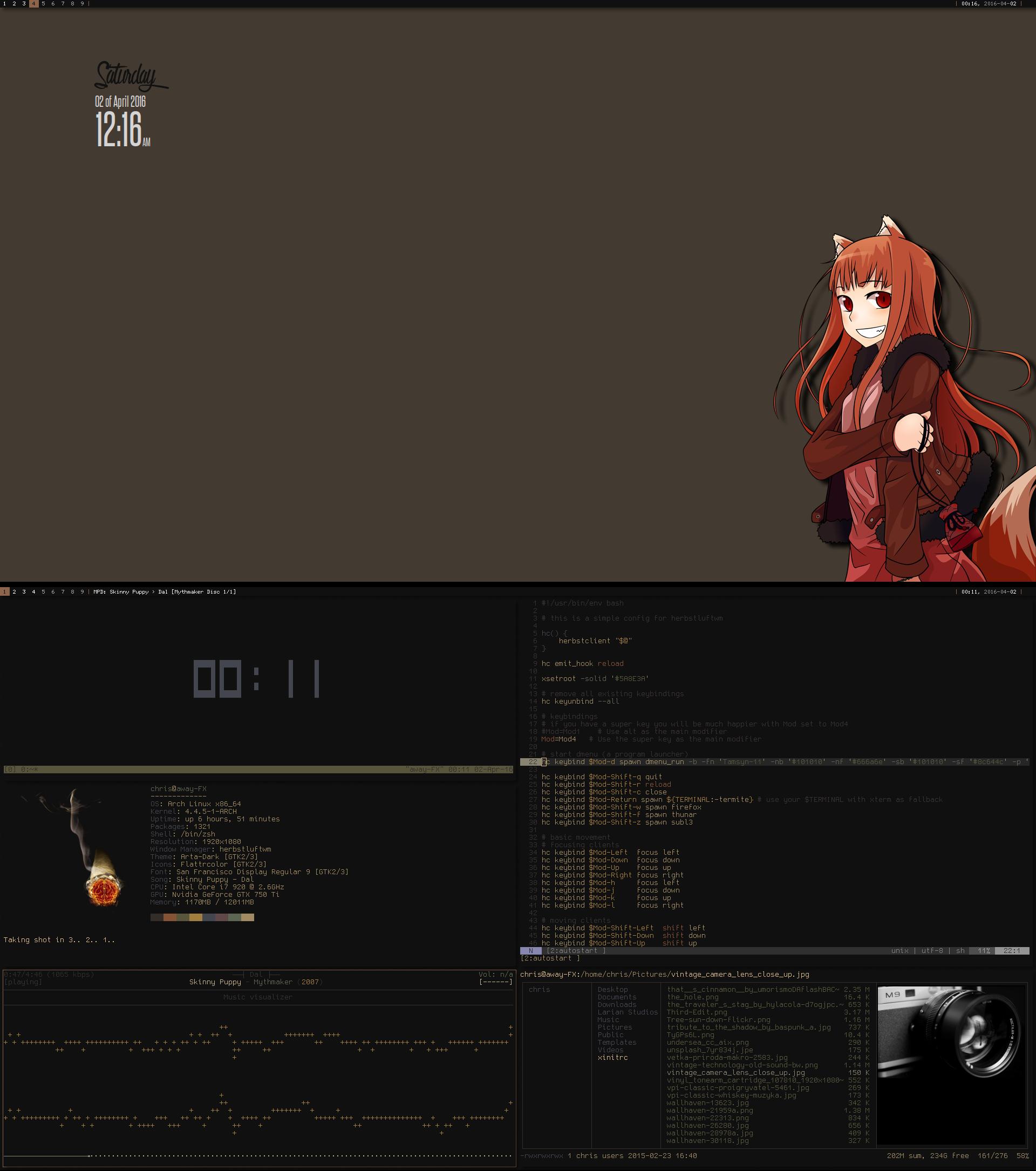 Arch + Herbstluftwm 4.2016 by chriptik