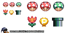 Miscellaneous Super Mario Items by Novally
