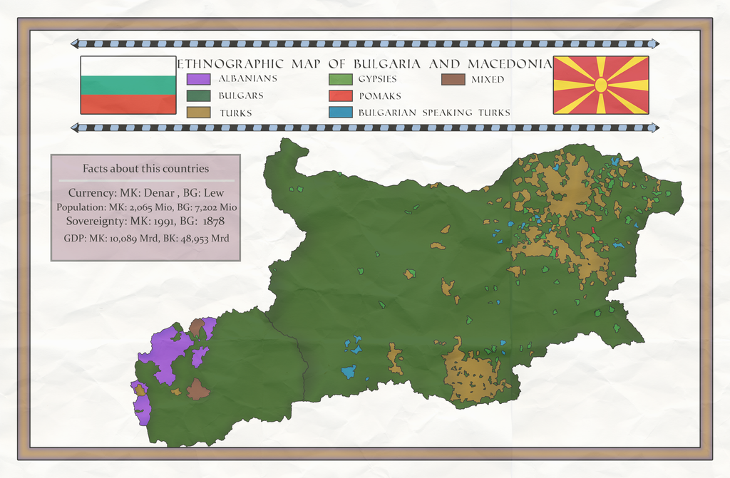 Bulgaria and Macedonia Ethnographic Map by IasonKeltenkreuzler on
