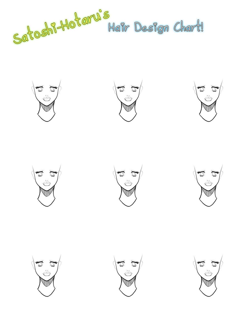 Character Design Format : Blank hair design sheet by satoshi hotaru on deviantart