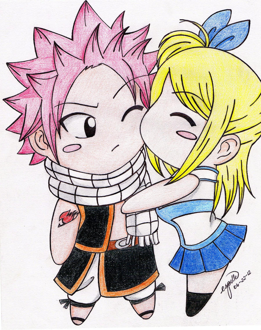 chibi natsu and lucy by esbelle